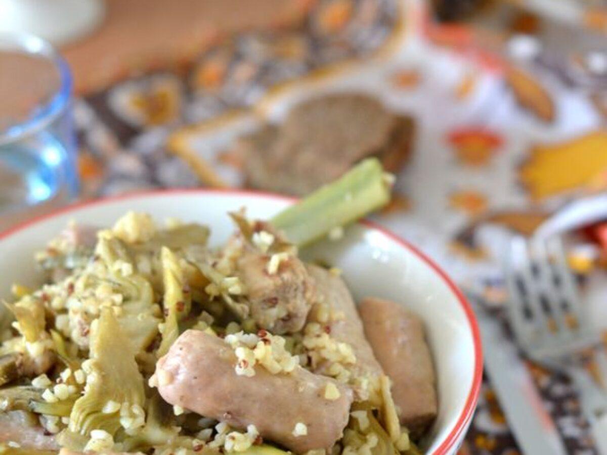 Ricetta Quinoa Con Carciofi.Bulgur E Quinoa Con Carciofi E Salsiccia Di Tacchino