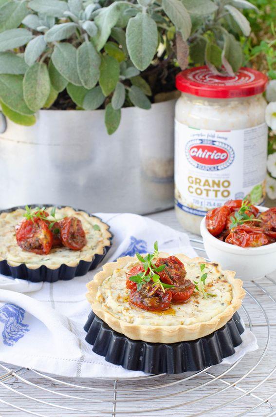 Crostatine salate con ricotta zucchine e grano cotto Chirico