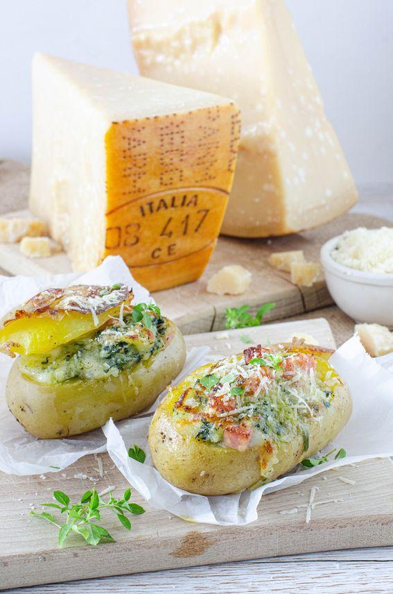 Patate al forno con cotto mozzarella e Parmigiano Reggiano