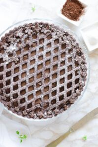 Crostata di pasta frolla senza burro con ripieno di ricotta e cioccolato