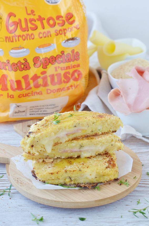 Toast di patate con ripieno di prosciutto e formaggio filante