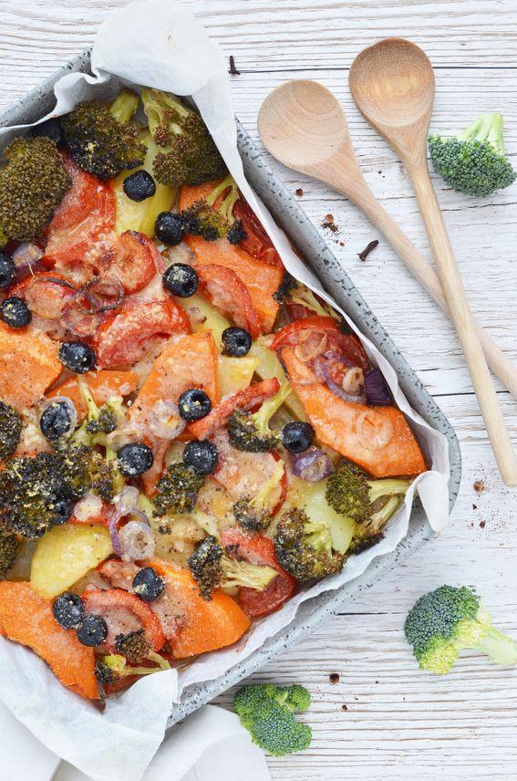 Zucca alla mediterranea cotta in forno con patate e olive